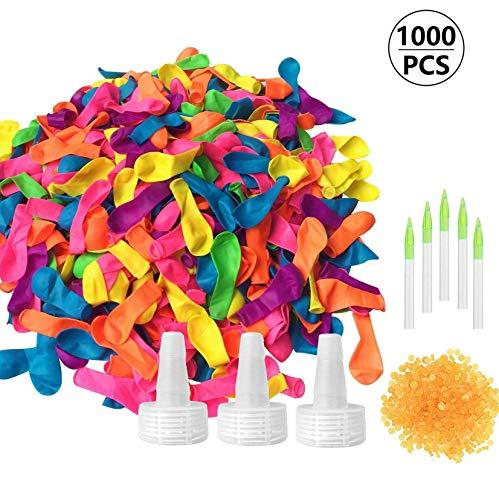 FUNNY HOUSE 1000 Pcs Globos de Agua, Magic Water Balloons Bombas de Agua Incluye 1000 Globos, 1000 Bandas de Goma y 5 Aplicadores de Juguete