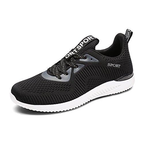 Gomnear Scarpe da corsa Uomini leggero traspirante Allacciare Casuale Moda Scarpe da ginnastica Atletico Gli sport Scarpe Black-44