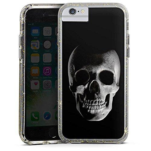 Apple iPhone X Bumper Hülle Bumper Case Glitzer Hülle Skull Schädel Piraten Bumper Case Glitzer gold