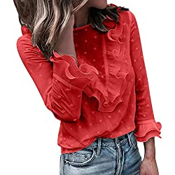 VJGOAL Moda Mujer Casual Encaje Sexy Lunares O Cuello Dulce Volante Camiseta Manga Larga Tops Blusa (S, X-Rojo)