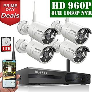 【2019 Neu】 Überwachungskamera Set System Videoüberwachung CCTV 1080P NVR Rekorder Überwachungskamera Outdoor Mit 4 960P Innen/Außen IR Nachtsicht Bewegungsmelde,Kamera Durch OOSSXX, 1TB HDD