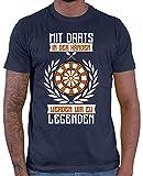 HARIZ  Herren T-Shirt Mit Darts In Den Händen Werden Wir Zu Legenden 2 Dart Sprüche Dartscheibe Sport Fun Trikot Inkl. Geschenk Karte Navy Blau XXL