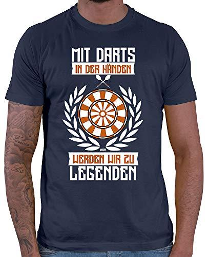 HARIZ  Herren T-Shirt Mit Darts In Den Händen Werden Wir Zu Legenden 2 Dart Sprüche Dartscheibe Sport Fun Trikot Inkl. Geschenk Karte Navy Blau M