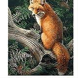 ZGGDYY malen nach Zahlen DIY Ölgemälde - Pink Fox on The Trunk - Tier Weihnachten - Adult and Child DIY Ölgemälde Geschenkset 40x50cm (16x20in)