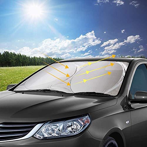 opamoo Auto Sonnenschutz, Sommer Sonnenschutz Auto Frontscheibe Sonnenschutz Sonnenblende Windschutzscheiben Abdeckung UV-Schutz für Kinder, Hunde und Babys - 150x70cm
