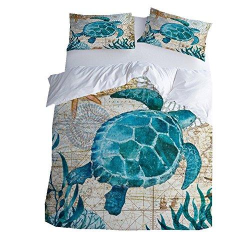 3D Meer Blau Schildkröte Bettbezug Set 220x 240cm 3 Stücke Bettwäsche Set 2 Personen mit Kissenbezug (Blau, König) -