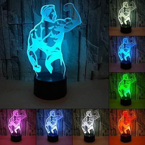 ag Nachtlicht Led Nachtlicht 3D Kinder Valentine'S Day Usb 3D Führte Licht Bodybuilding Muskel Nachtlicht Atmosphäre Tischlampe Schlafzimmer ()