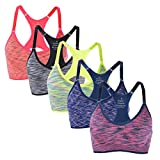 Jewelry_Awesome Womens Strech Duenn Ohne Buegel Push up Yoga Sports BH Bra Top Set Fuer Fitnesstraining Polsterung 6/5er pack (M, Grau+Blau+Orange+Rot+Grün/5er)