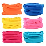 6PCS Multifunctional Headwear Headbands Bandana Seamless Magic Scarf Tube Mask UV Insect Shield Sport Men Women Unisex (#Bright Color)