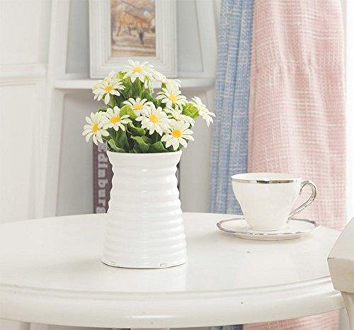 Hosaire Vase Kreativ Plastik Vase Blumen Pflanzen Set Wohnzimmer Dekoration Blumen Arrangement Blume Vase,Weiss - 5