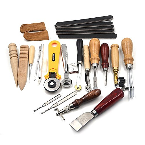 Hrph 20pcs Leder-Handgeräte Leder Set Costura Kit Punch-Stitching Sewing DIY Stempel-Geschenk