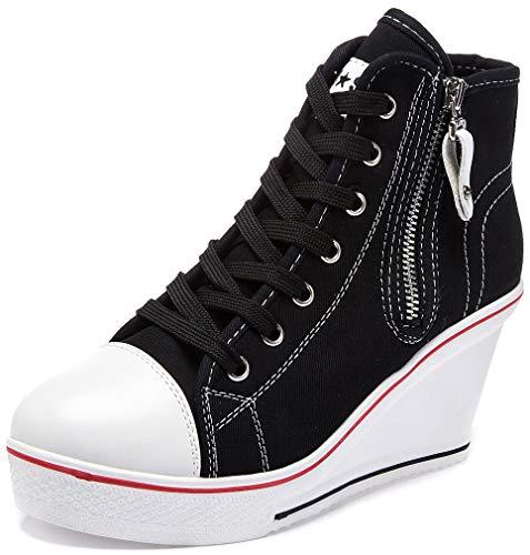 Solshine Damen Canvas Sneaker Wedge Turnschuhe mit 6cm Keilabsatz 689 Schwarz 41EU Canvas Wedge Sneakers