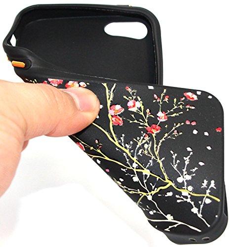 Hülle für iPhone SE 5 5S 5G, Schwarz Silikon Schutzhülle für iPhone SE 5 5S 5G Case TPU Bumper Handyhülle, Cozy Hut ® [Thin Fit] [Schock Absorption] Soft Flex Silikon Schlanke Hülle [Schwarz] Premium  Kirschbaum