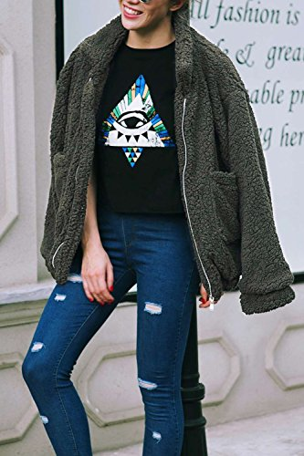 YACUN Le Donne Di Finto Pelo Soffice Breve Giacca Cappotto Outwear Felpa Armygreen