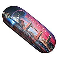Elegant London Scenes by Night Skyline Eyeglass Case! Spectacle glasses With Soft Cleaning Cloth! Big Ben, Tower Bridge Souvenir / Speicher / Memoria! Never Break Eyeglasses Again! Etui ?� Lunettes / Brillenetui / Astuccio per Occhiali / Caja de la Lente!