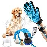 Haustier Baden Dusche Duschhandschuh Hundedusche - Reinigungs-Handschuh mit 4 Wasserhahn-Anschlüssen für Hunde Katzen Pferde für Drinnen und im Freien für Waschreinigung, Massage, Fellpflege