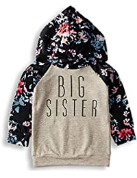 183fc8d783be PVSECTOR Baby Girls Little Big Sister Outfits Floral Romper Long Sleeve  Hoodies (Blue 110