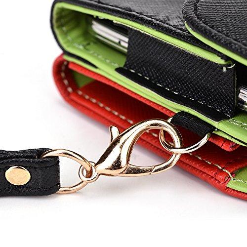 Kroo d'embrayage portefeuille avec dragonne et sangle bandoulière pour Blu Studio X Plus Green and Pink Noir/rouge