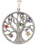 Pendentif Yggdrasil en argent925 avec 7pierres chakra de 30mm de diamètre. Motif: 1, arbre de la vie.