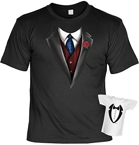 Fun T-Shirt Smoking Krawatte Weste Anzug Shirt Bedruckt Geschenk-Set mit Mini Flaschenshirt