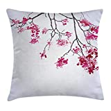 Houlipeng Japanese Throw Pillow Cushion Cover, Cherry Blossom Sakura Tree Floral Branch Spring Season Theme Image, Decorative Square Accent Pillow Case, 18 X 18 Inches, Pink Black and Dimgray