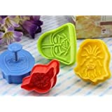Star Wars Cookie Cutters Plungers Set of 4 - Random Colours - Baking Kitchen