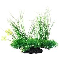 SODIAL (R) Acuario emulational plastico verde Planta decoracion largo hoja 20cm