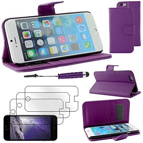 """ebestStar - pour Apple iPhone 6S 6 écran 4.7"""" - Housse Coque Etui Portefeuille Support PU Cuir + Mini Stylet tactile + 3 Films protection écran, Couleur Noir [Dimensions PRECISES de votre appareil : 1 Violet"""