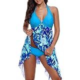 OverDose Damen 2PCS Frauen Blumendruck Übergröße Bikini Set Sommer Bikinis Tankini Swim Kleid Badeanzug Beachwear Gepolsterte Bademode Frauen Plus Size Badeanzüge(Sky Blue,EU46)