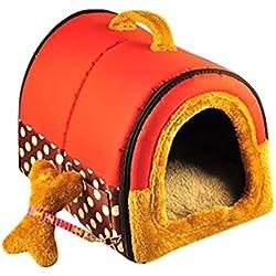 YOUJIA Cama felpa para perros y gatos - Casa para Mascotas Cama Cojin Casa de la Perrera Perrito (Rojo Puntos,S)