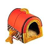 YOUJIA Hunde-Höhle Weicher Warm Haustier Nest Hund Katze Bett Tierbett Haustiertragetasche (Rot Punkte,L)
