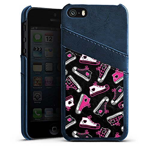 Apple iPhone 5s Housse Étui Protection Coque Baskets Années 90 90s Étui en cuir bleu marine