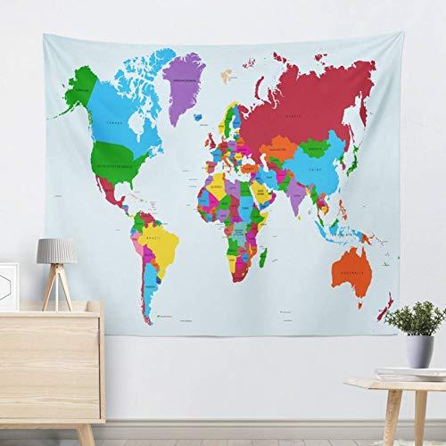 ALXBMZ Tapisserie Blau Gedruckt Wandbehang Twin Size Teppich Wohnkultur Wandteppich Weltkarte Polyester Blatt -