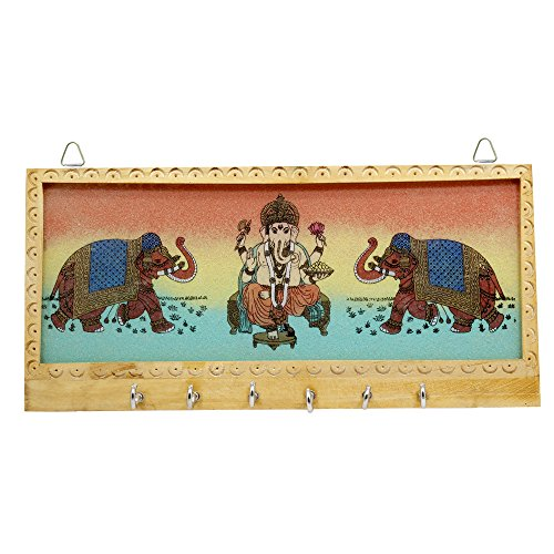 Frabjous Rosewood Shri Ganesha Spiritual Good Luck Key Holder with 6 Hook Rakhi Gift for Sister Gift for Ganesh Chaturthi  available at amazon for Rs.180