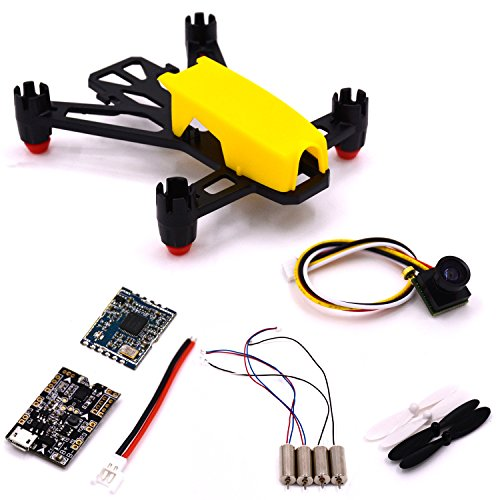 LHI Q100 Wonderful Mini FPV Racer Quadcopter DIY Indoor Kit Put together up+4pcs 8520 motor +5813 Module +F3 EVO Exodus Mastery Residency (Yellow)