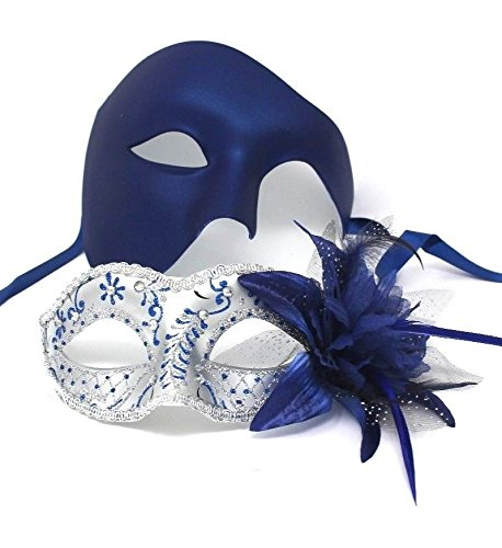 Das Gute Leben Sein und ihrs Zwei Silber u. Blau venezianische Maskerade Partei Karneval Masken Für ()