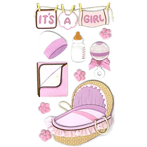 EK Success Jolees Le Grand Baby Girl Sticker, Pink