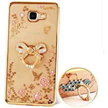"Nnopbeclik [Coque Samsung Galaxy A3 2016 Silicone] Diamant Fleur ""3D Motif Style"" Bijoux de Bande Briller avec Bague Doux antichoc Backcover Housse pour Samsung Galaxy A3 2016 Coque Transparente [A310F] (4.7 Pouce) + Stand Support Protection Antiglisse Anti-Scratch Etui - [Arc Or]"