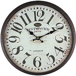Perla PD Reloj de pared, Metal, con cristal, vintage, diseño Westminster, color marrón y negro, lacado, aprox. 30cm de diámetro