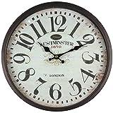 Perla PD Design Orologio da parete in metallo con copertura in vetro, stile vintage, laccato, diametro 30 cm circa, Metallo, Westminster