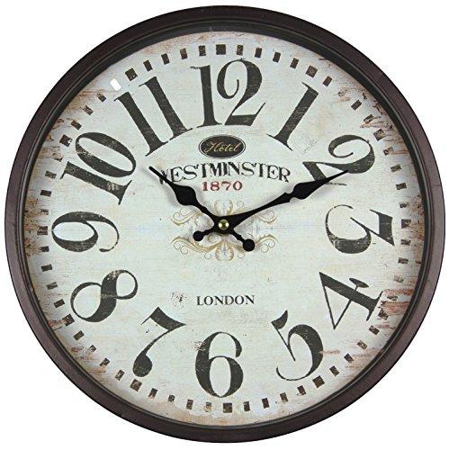 Perla pd Design Horloge murale en métal avec vitre Design vintage Westminster Laqué noir/marron env. Ø 30 cm