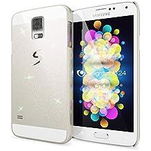 Samsung Galaxy S5 S5 Neo Funda Carcasa de NICA, Protectora Movil Purpurina Cubierta Dura Delgado Glitter Hard-Case, Bumper Cover Lentejuela Ultra-Fina para Telefono Samsung S5 Neo S5 - Blanco