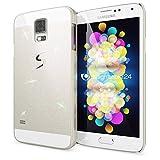 NALIA Handyhülle für Samsung Galaxy S5 / S5 Neo, Glitzer Slim Hard-Case Back-Cover Schutzhülle, Handy-Tasche im Glitter Sparkle Design, Dünnes Bling Strass Etui Skin für Samsung-S5 - Weiß