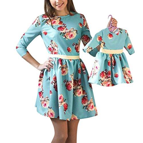 Baby Und Passende Mama Outfits Für (MCYs Mom & Me Baby Kind Mädchen Langarm Floral Print Sommerkleid Kleid Familie Kleidung (S, mama))