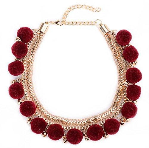 Dame Leiter Einfach Legierungsglocke Plüschkugel Choker Halskette Mode Kostüm Schmuck , deep red