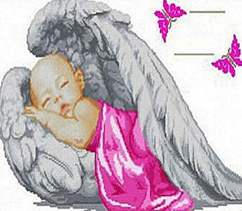 ng Diamant Malerei Großes Bild Wanddekoration DIY 5D Strass Stickerei Kunst Handwerk Kreuzstich Voller Diamanten Baby Engel, 39X34Cm ()