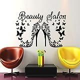 IncredibleWallDecals Haar-Art Wand Beauty Aufkleber Friseursalon Friseur Heels Schmetterlinge Vinyl Aufkleber Decor Home Interior Design Wandbild (mn931), Vinyl, 48cmTall x 68cmWide