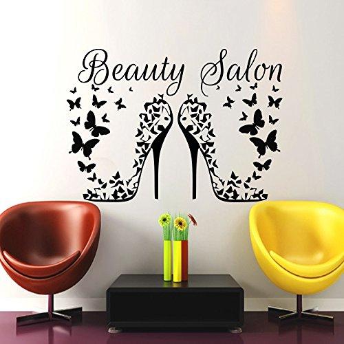 Haar-Art Wand Beauty Aufkleber Friseursalon Friseur Heels Schmetterlinge Vinyl Aufkleber Decor Home Interior Design Wandbild (mn931), Vinyl, 48cmTall x 68cmWide (Wand Heels)