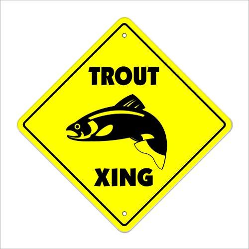SignMission Forellen Crossing Sign Zone Xing |-| 30,5cm Hoch Wohnungen Boot Fliegenrute Reel Fisherman Angeln Fish