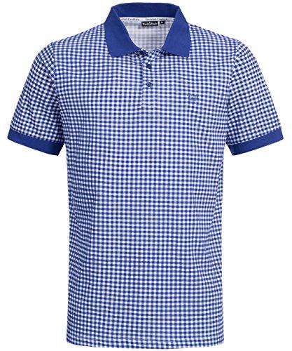 Tracht & Pracht - Herren 100% Baumwolle - Poloshirt Trachtenshirt T-Shirt Karo Blau - (T Shirt Trachten)